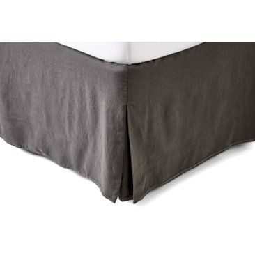 Check out this item at One Kings Lane! Vintage Linen Bed Skirt, Coal