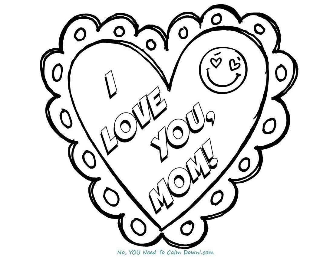 I Love You, Mom Mother's Day Coloring Page Free