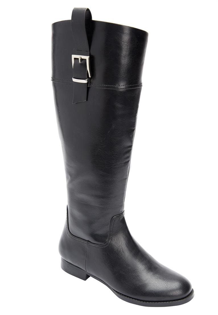 8ce9e12d18dbd Amazon.com | Comfortview Women's Wide Harlow Tall Calf Boots Black ...