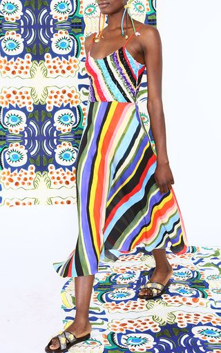 Rendered in silk, this **Tata Naka** Beaded Camisole Sun Dress features a colorful diagonal striped design motif, a fitted bodice, and an A-line styled skirt.