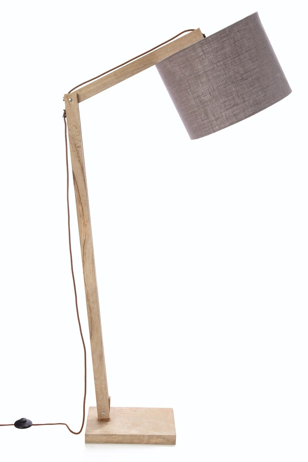 Cantilevered adjustable mango floor lamp with hanging linen shade ...