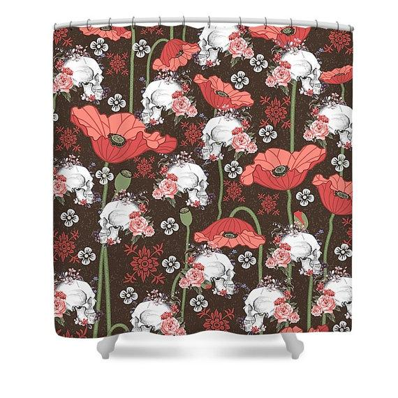 Poppies and Sugar Skull Shower Curtain Skull throw