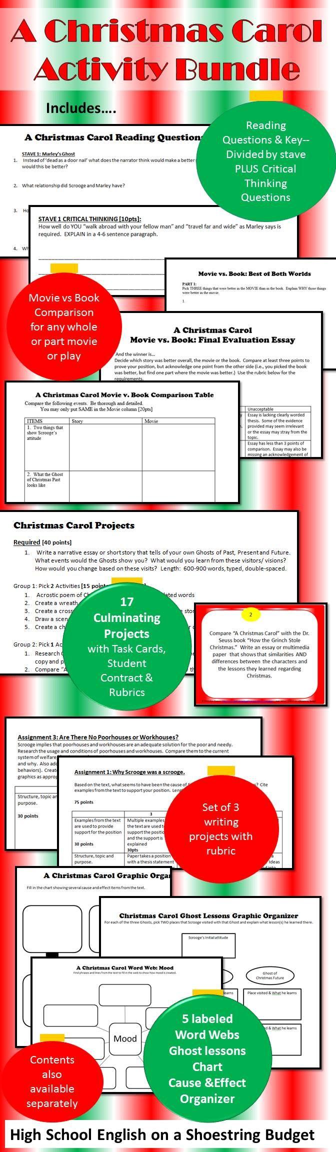 A Christmas Carol Activity Bundle (Charles Dickens) PDF