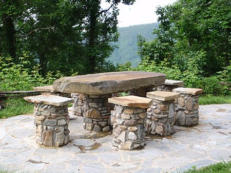 Bon Stone Table And Chairs On Stone Paved Patio