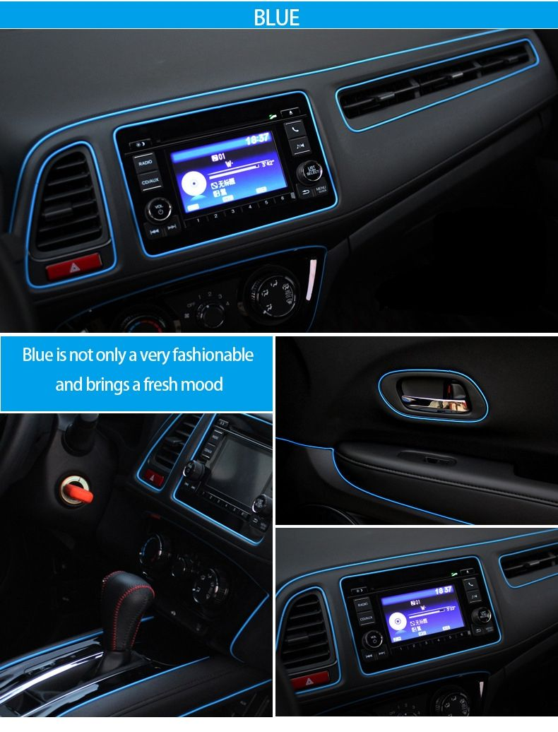 1M Multicolor Fluorescent car decoration car interior Moulding Trim ...