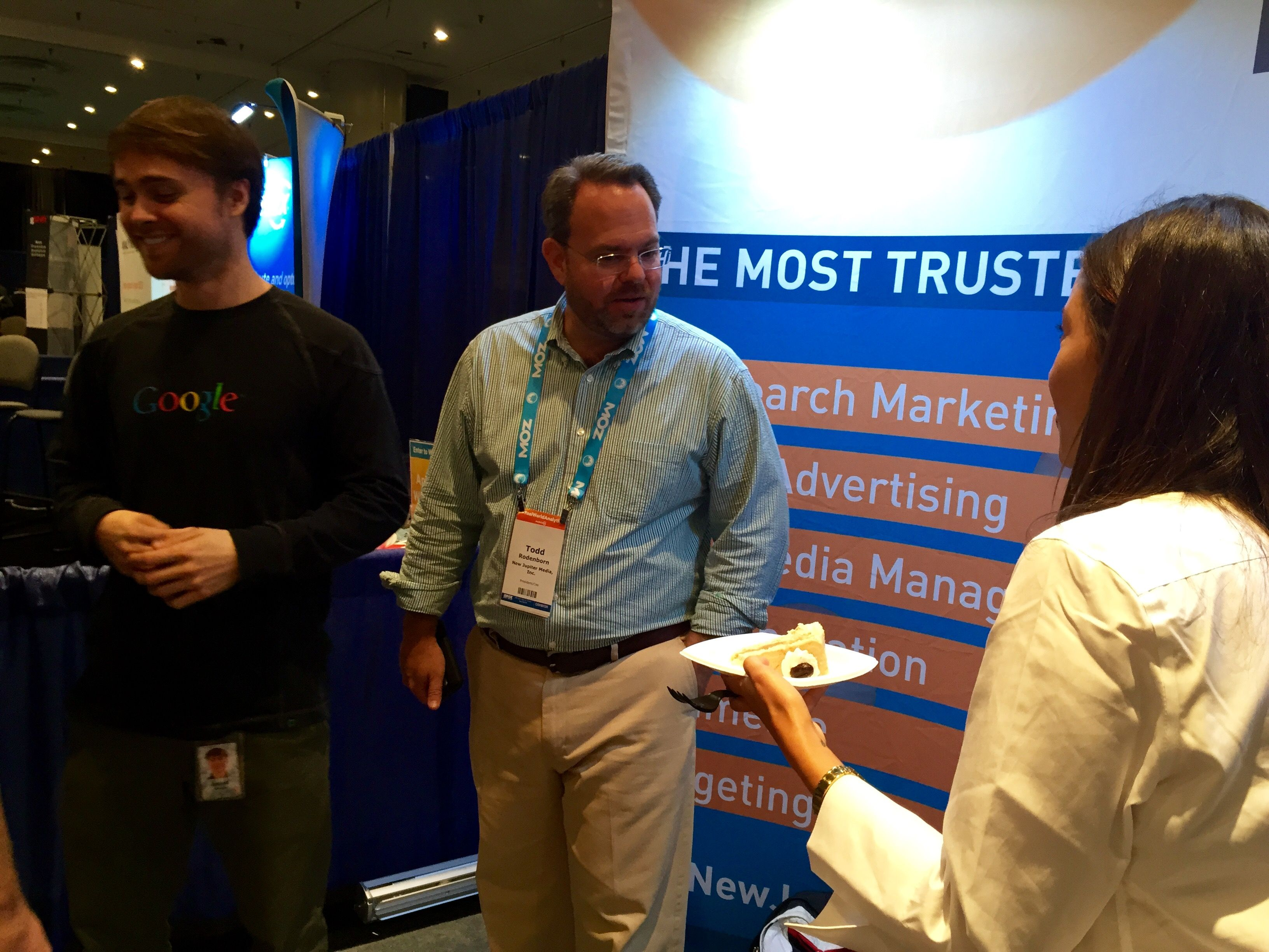 Our Google rep Jacob, our Founder & CEO Todd, and our Director of Digital Marketing Molly. Click the photo to see the rest of our photos from SMX East 2015.