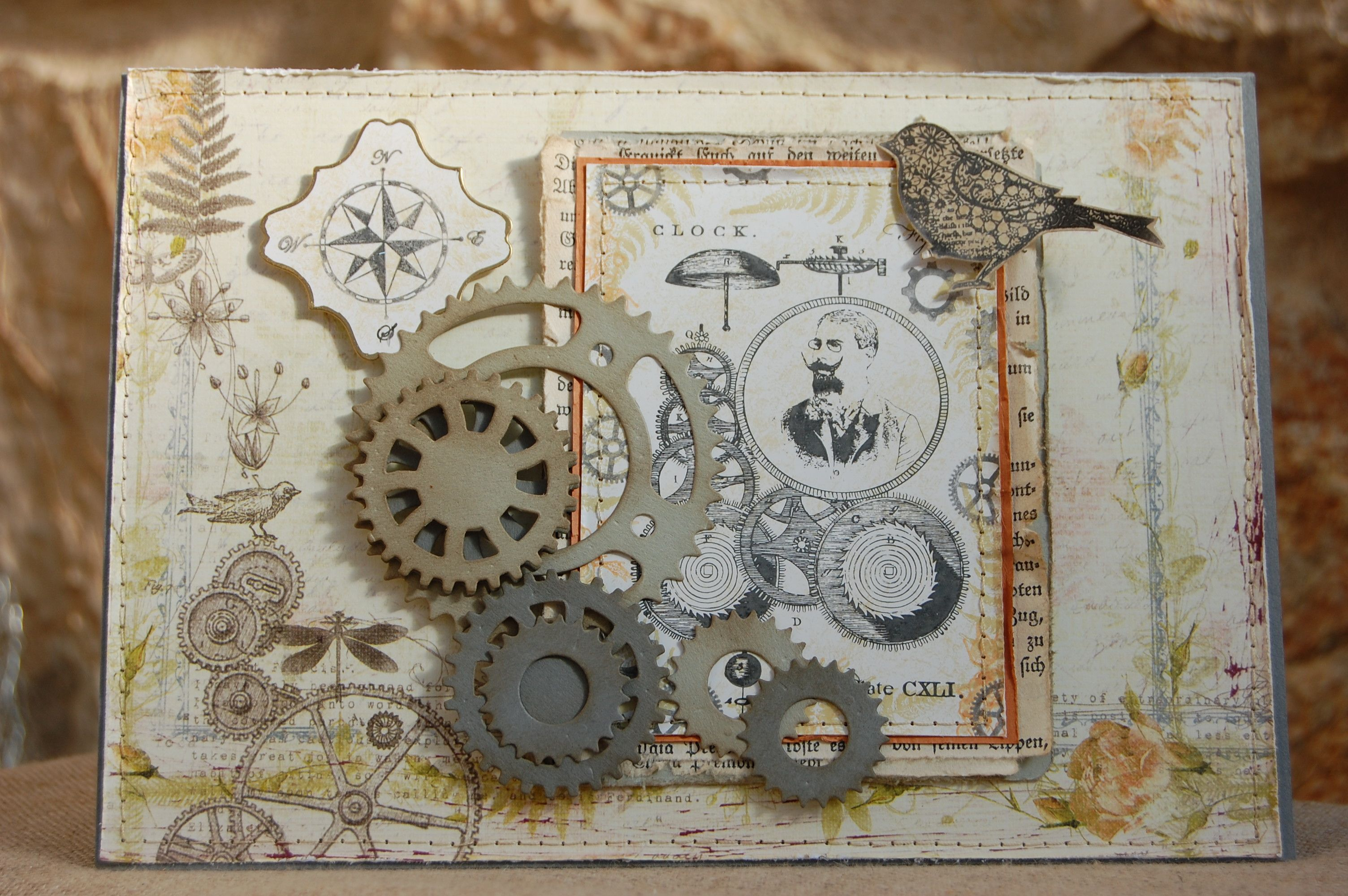 Handmade Greetings Cards Rubber Stamping Steampunk Style