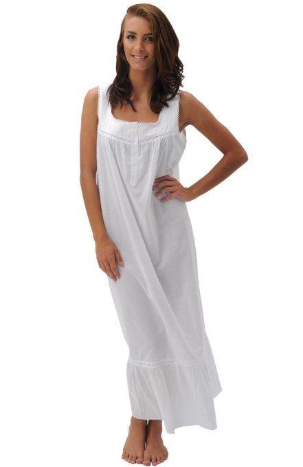 Amazon.com  Del Rossa Women s Patricia 100% Cotton Long Victorian  Sleeveless Nightgown  Clothing 567043bd0