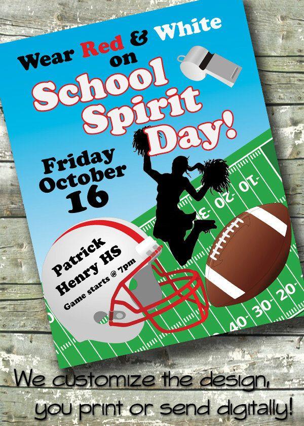 Football School Event ~ Birthday ~ Booster Club ~ Spirit Week ~ 5x7