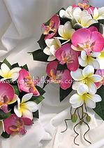 orchid and frangipani bouquet