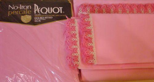 NIP Vtg No Iron Pequot Percale Bubble Gum Pink FULL BED SHEET SET