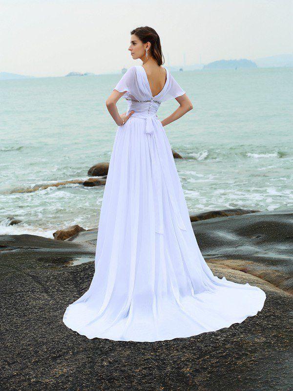 A-Line/Princess V-neck Ruffles Short Sleeves Long Chiffon Beach ...