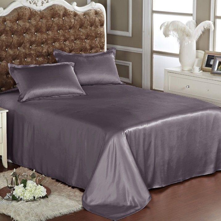 Charcoal Grey Silk Flat Sheet