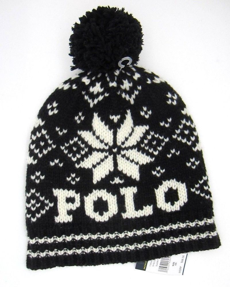 e7a8feffea4 Polo Ralph Lauren Hat Black Wool Cable Knit Beanie with