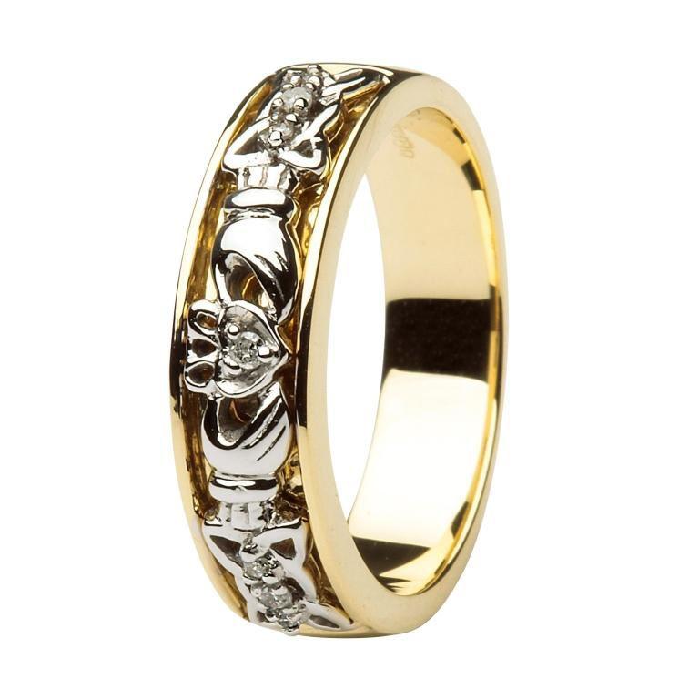 Claddagh Wedding Ring Two Tone Ladies Diamonds Set With Celtic Knotwork Claddagh Ring Wedding Claddagh Wedding Celtic Wedding Bands