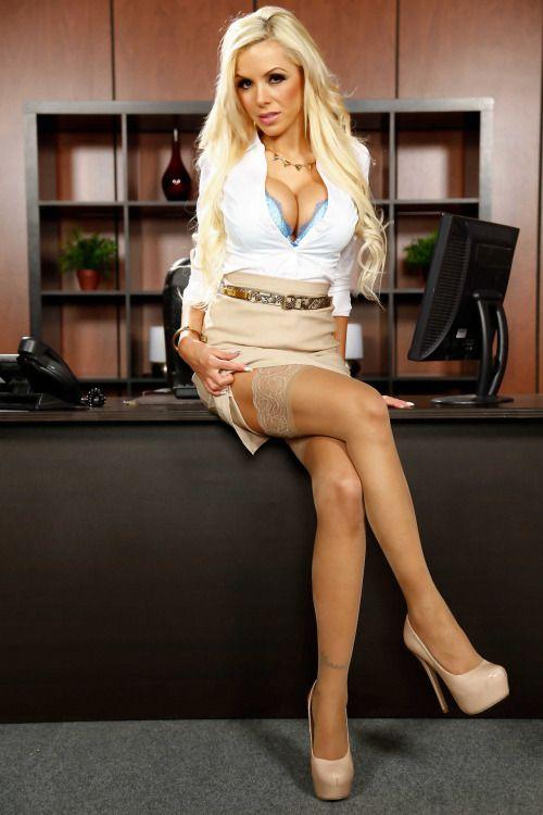 Blonde Stocking Secretary Giving Blow Job