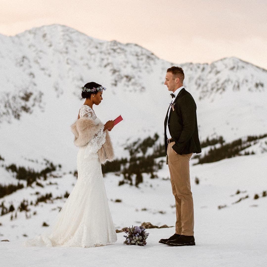 Loveland Pass Colorado elopement snowy mountain wedding
