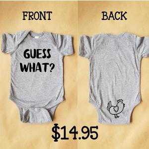 Guess What Chicken Butt Long Sleeve Onesie Baby Bodysuit Funny Meme Shirt Gift