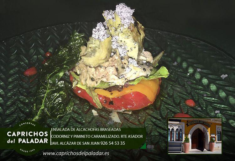 Le damos la bienvenida al #viernes con esta ensalada de alcachofas braseadas, codorniz y pimiento caramelizado elaborada con productos de Caprichos del Paladar. En Asador Javi, Alcázar de San Juan.Ciudad Real. Muchas gracias y feliz #findesemana.