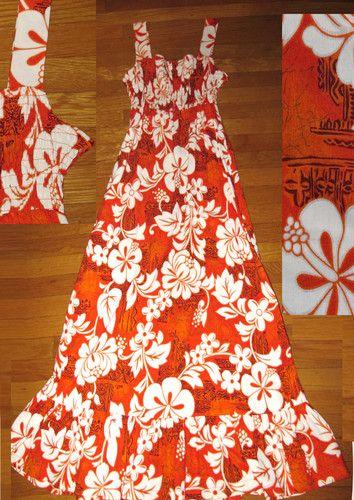 0b544a72e7 Vtg 60s 70s Maxi Sun Dress Hawaiian Floral Barkcloth Elastic Tube Top EVC x  XL