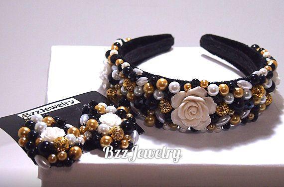 SALE Baroque Rose Headband, bead embroidered headband and earrings,high fashion crown, DG headband, dolce gabbana headband, beadwork hairrim