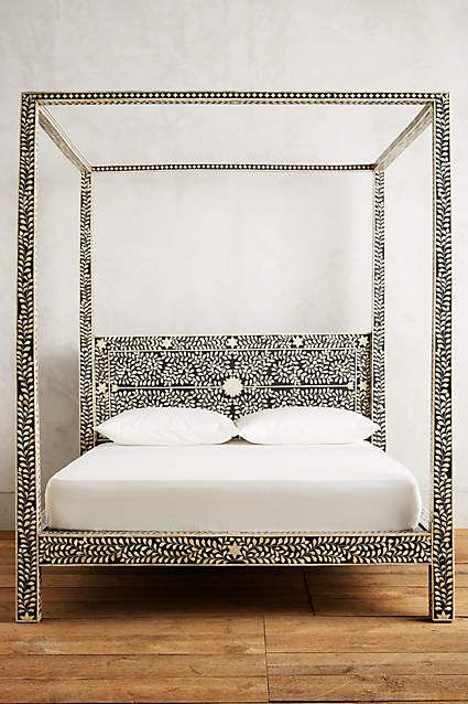 Bone Inlay Four Poster Bed - I know this is so not your style, but it's an amazing bed!