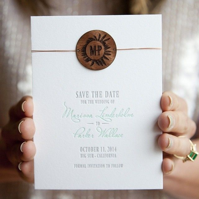 Letterpress save the date with a laser engraved wood monogram