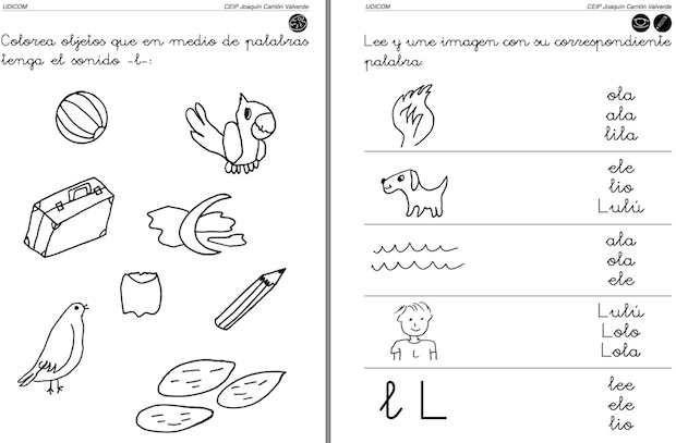Algunos Recursos Para El Ed Infantil Y Primer Ciclo De Primaria Actividades De Letras Letra L Actividades Para Primaria