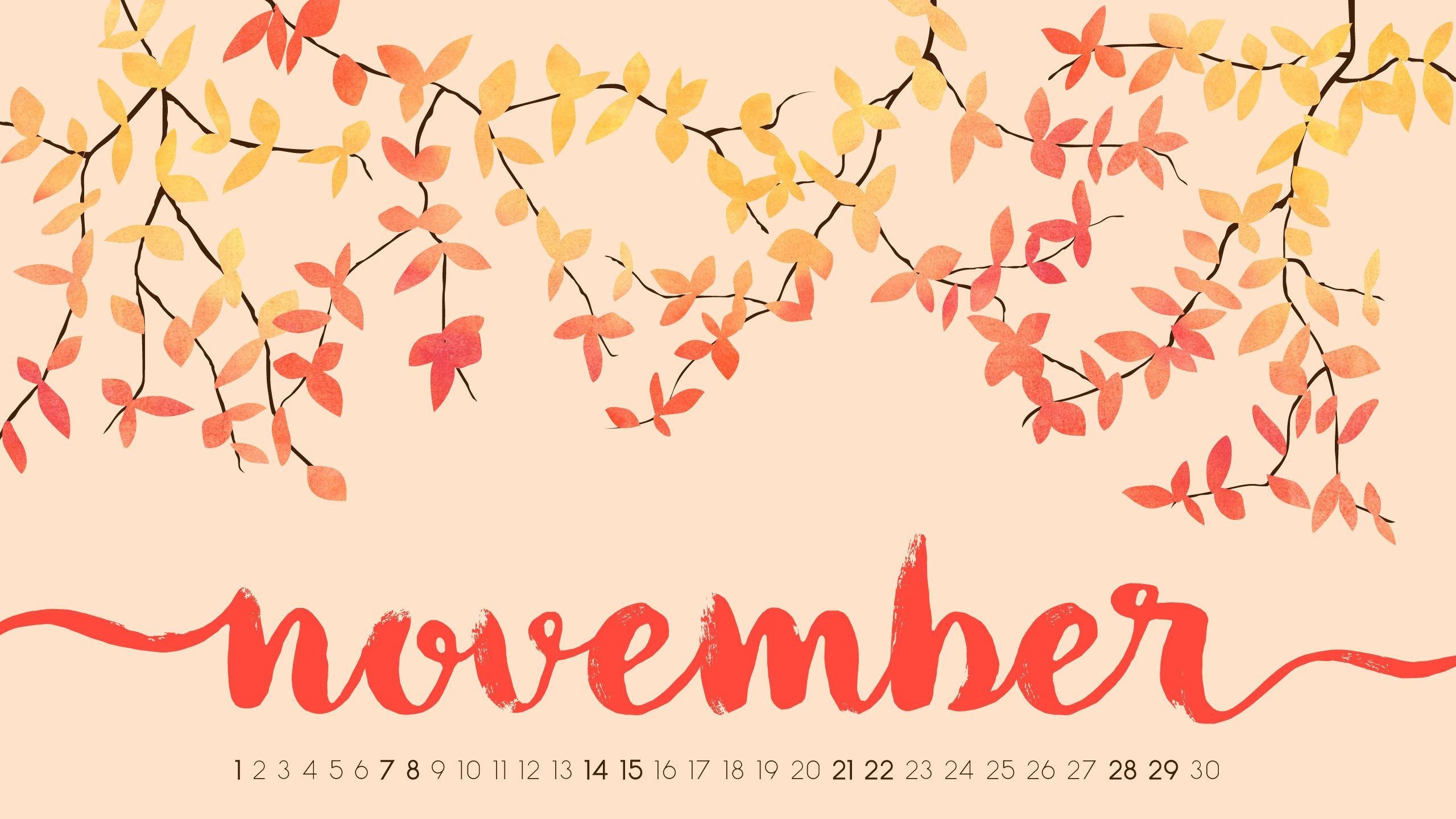 Cute November 2018 Calendar Background Wallpaper Free