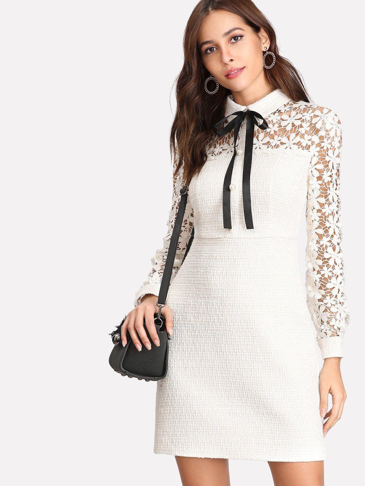 Daisy lace sleeve tie neck tweed dress zipper ties tweed dress