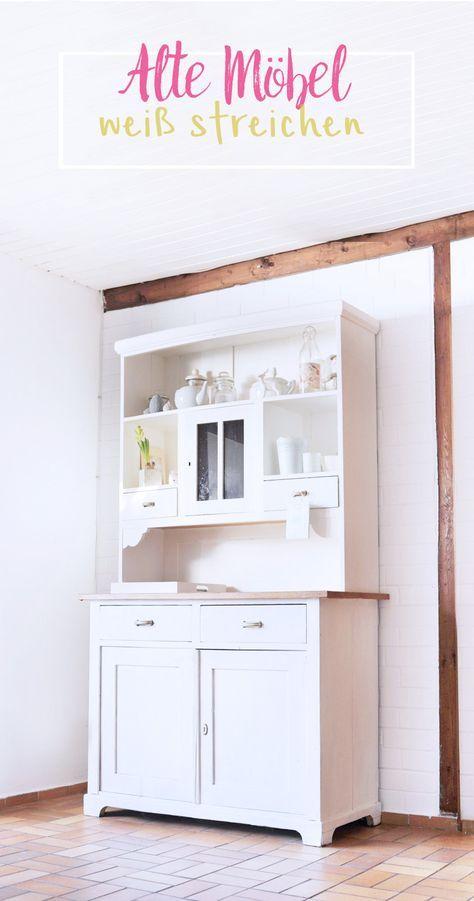 diy alte dunkle m bel mit wei er farbe streichen zimmer. Black Bedroom Furniture Sets. Home Design Ideas