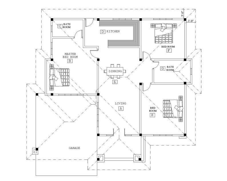 Custom Modern House Home Floor Cabin Cottage Building plans 3 Bedroom & 2 Bath room with Garage and AUTO CAD File