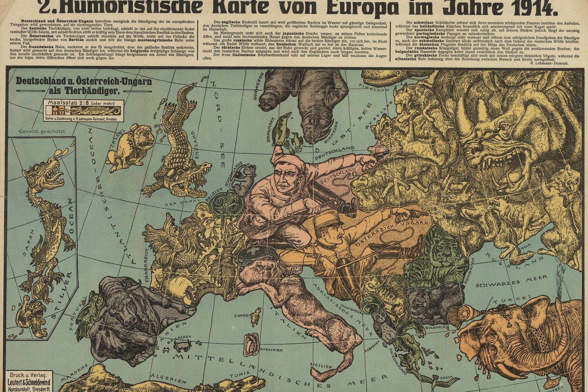 Humoristische Karte Von Europa 1914.Lehmann Dumont Karl Humoristische Karte Von Europa Im