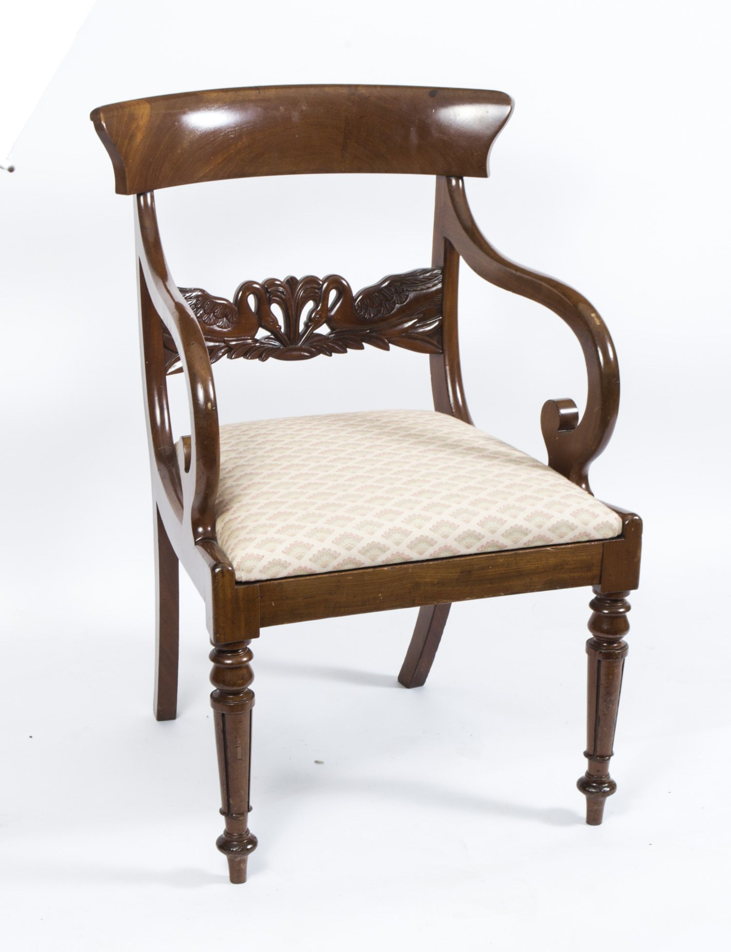 An Antique English Regency Swan Carved Armchair Circa 1820