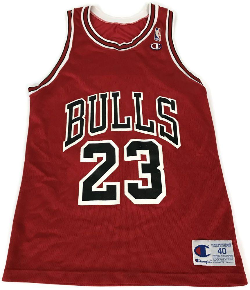 Vintage MICHAEL JORDAN Chicago Bulls Champion Jersey Size 40 Red Home  23  Sz S  Champion  ChicagoBulls 85f743d5e