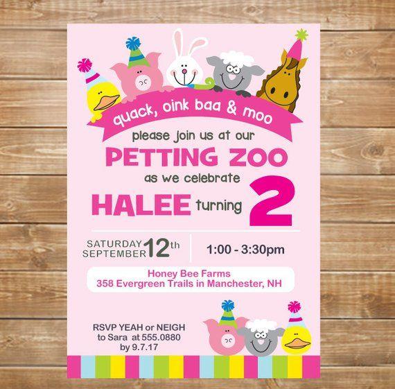 Petting Zoo Birthday Invitation Party Farm Invite DIY Printable Girls Par