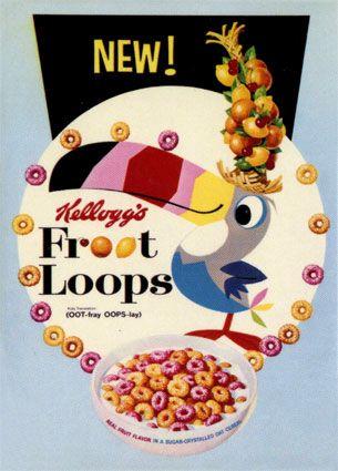 Kelloggs Froot Loops Vintage Breakfast Cereal Box Art
