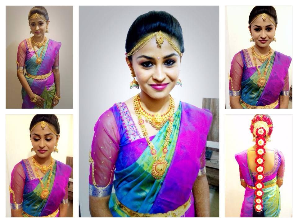 Traditional South Indian bride wearing bridal hair, saree
