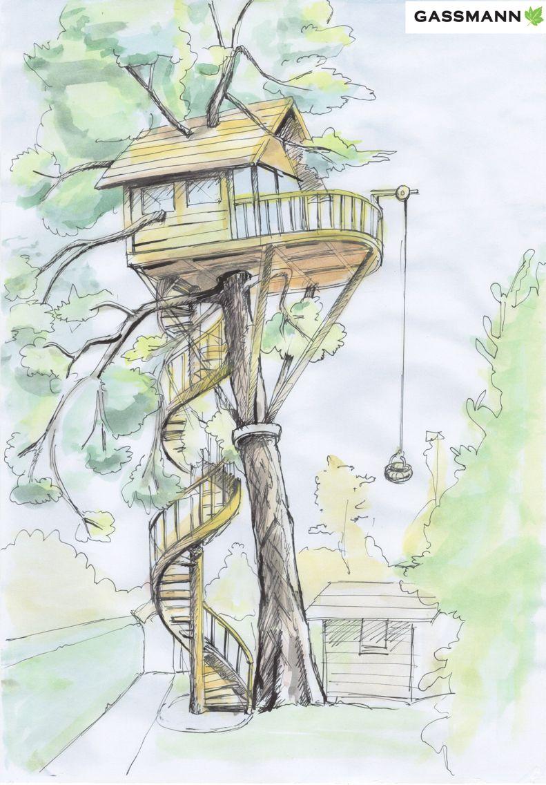 Neues Zuhause Ihr Baumhaus Nutze den Baum und erstelle
