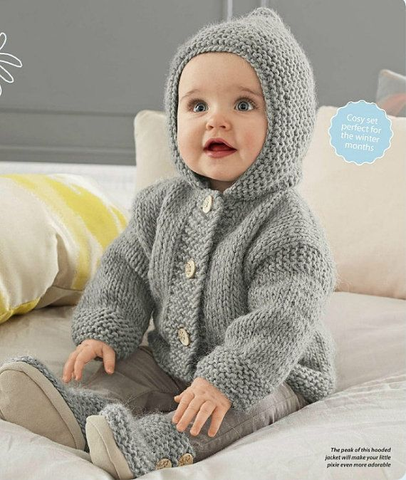 Baby Hooded Jacket Chunky Easy Knit Knitting By Krohshayandsuch
