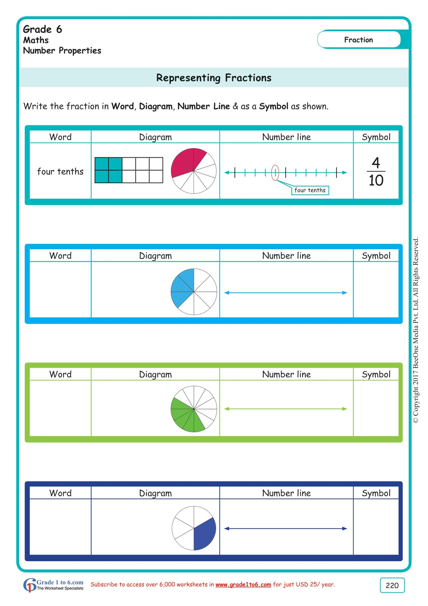 Worksheet Grade 6 Math Representing Fractions In