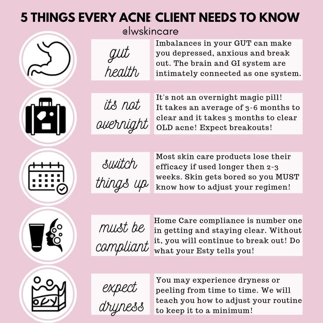 """L W SKINCARE on Instagram: """"10 Things every acne client needs to"""