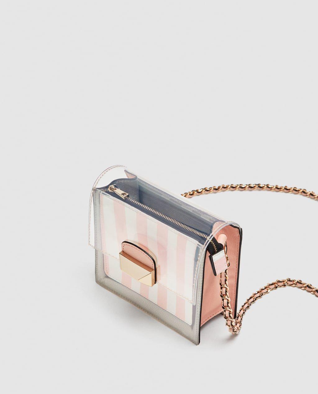 6c92d4660177 Image 4 of EMBELLISHED MINI VINYL CROSSBODY BAG from Zara   Şeffaf ...