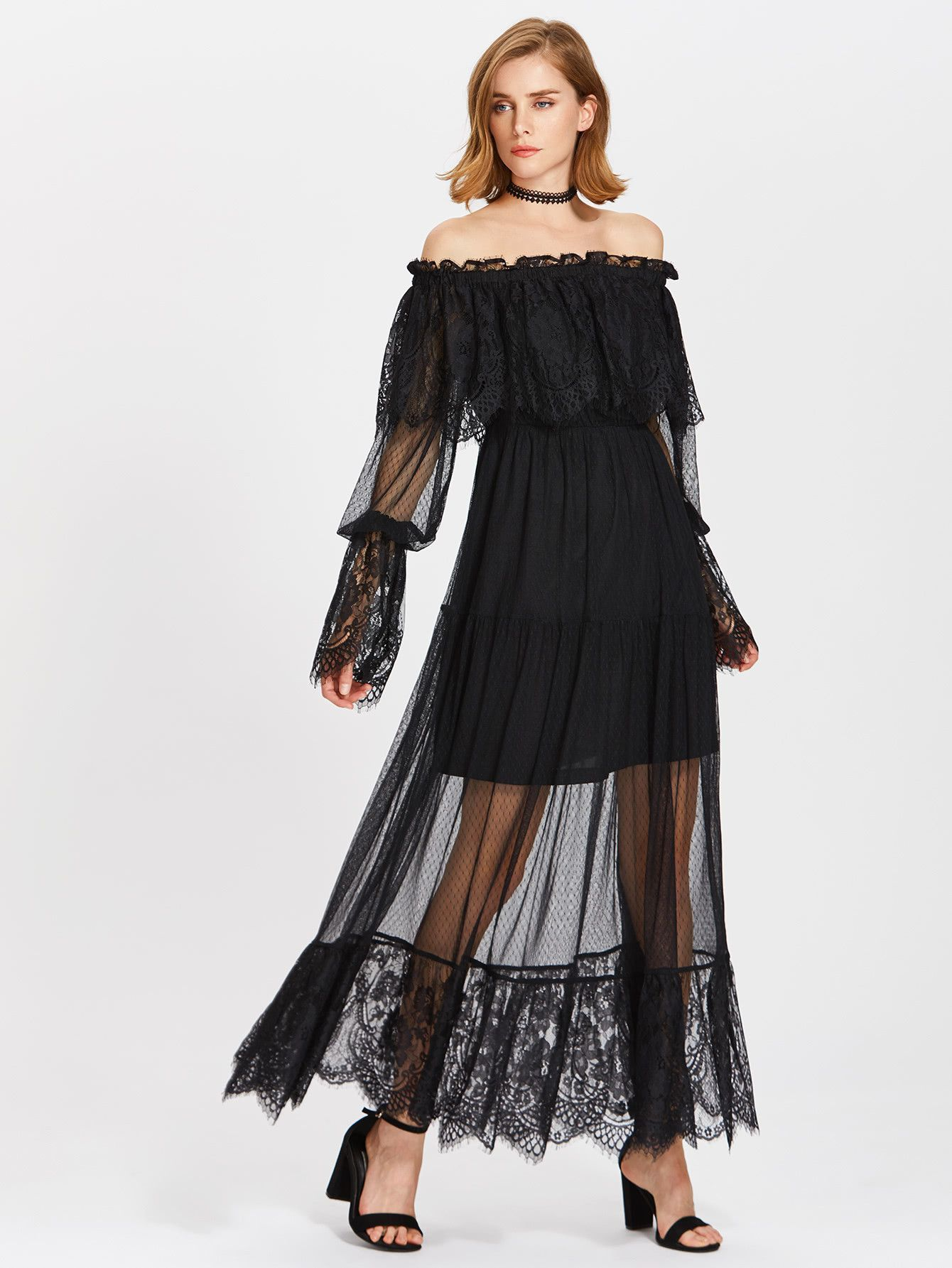 6152b6dd7273 Black Lace Frill Off Shoulder Overlay Tiered Maxi Dress in 2019 ...