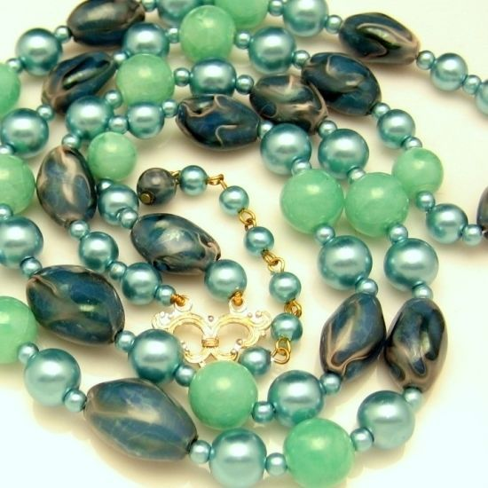 HONG KONG Vintage 2 Multi Strand Aqua Teal Blue Green Beads Necklace / Vintage Hong Kong 2 strands beads necklace / Pretty teal-aqua blue-green Acrylic beads / Variety of sizes and shapes / Look of art glass, comfortable light weight Acrylic  /49