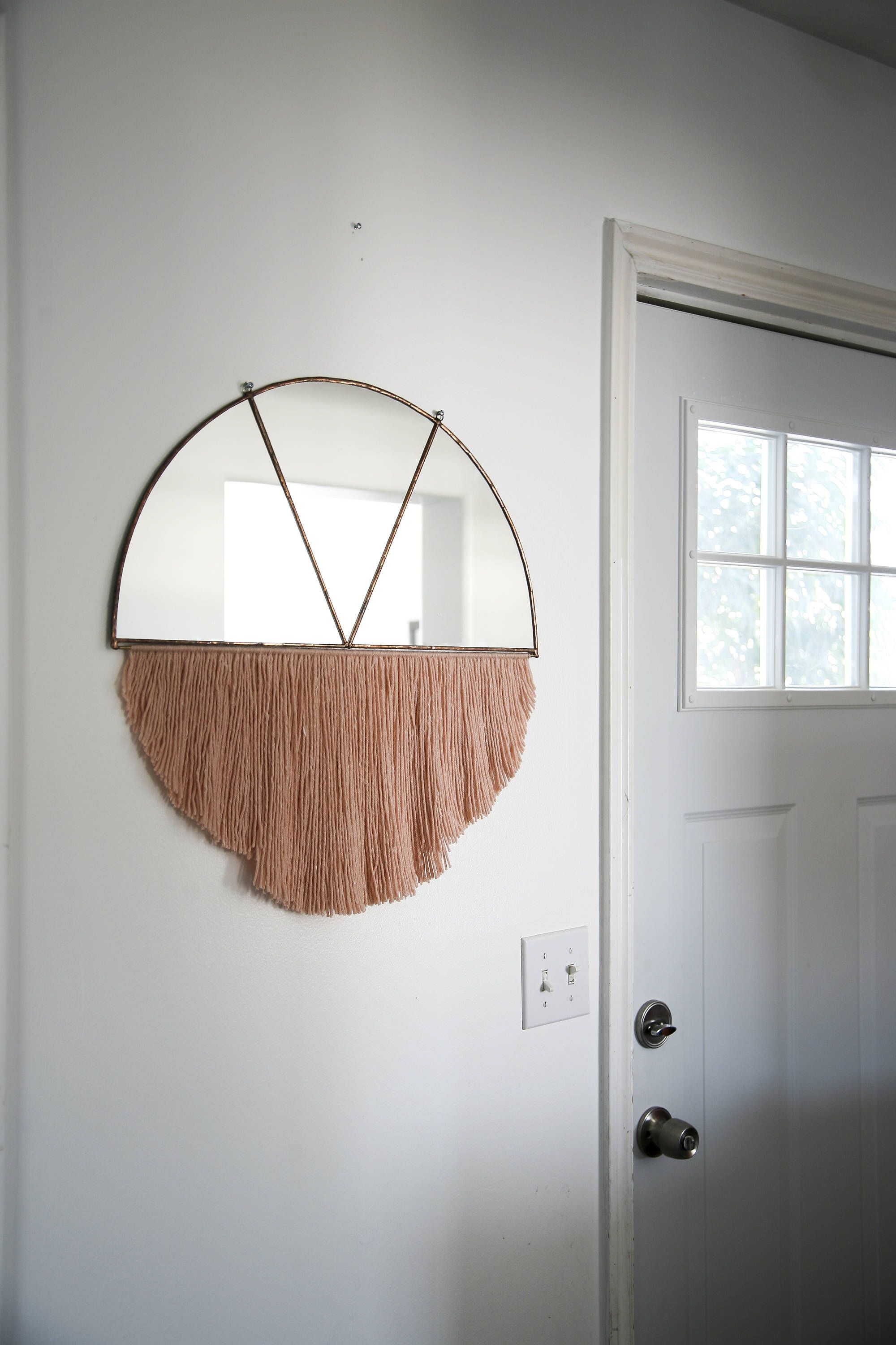 Stained Glass Half Circle Mirror With Fringe Mirror Wall