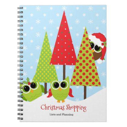 #cute - #Cute Owl Family Christmas Shopping Notebook