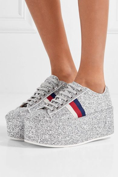 f94af57e4be00 Gucci - Glittered Leather Platform Sneakers - Silver