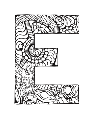 Letter E Zentangle Coloring Page From Zentangle Alphabet Category Select From 30582 Printable Crafts O Coloring Letters Coloring Pages Alphabet Coloring Pages