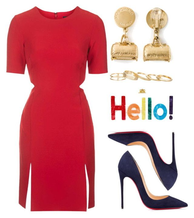 """""""Hello"""" by kimeechanga ❤ liked on Polyvore featuring Topshop, Christian Louboutin, Edie Parker, Moschino and Kendra Scott"""